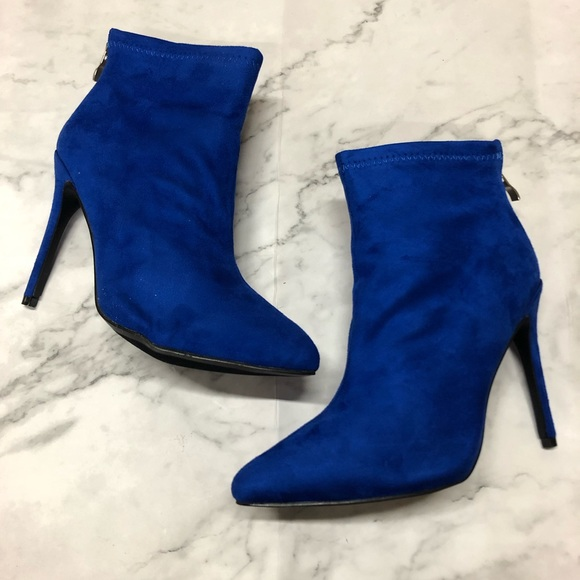 Royal Blue Suede Womens Ankle Booties